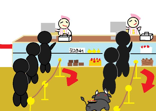 ケーキ屋に並ぶ糸美さん