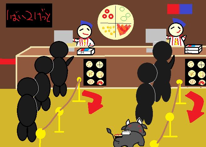 ピザ屋に並ぶ糸美さん