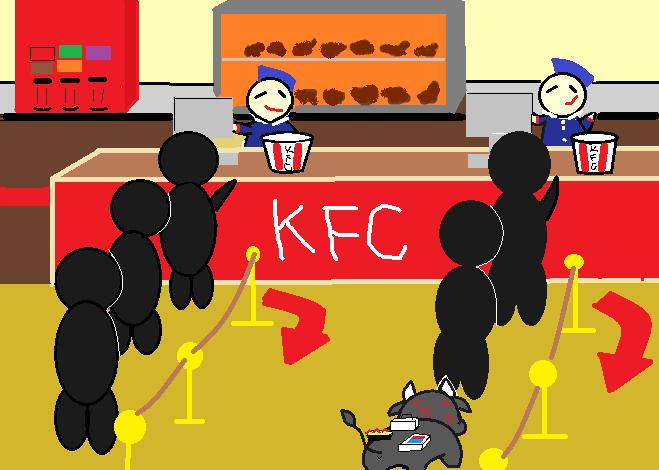 KFCに並ぶ糸美さん